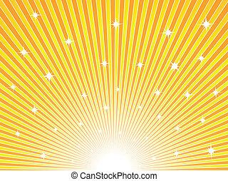 桔子, 阳光充足, 黄色的背景
