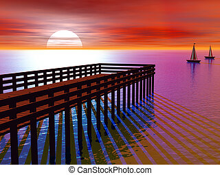桟橋, レンダリングした, 日没, 3d
