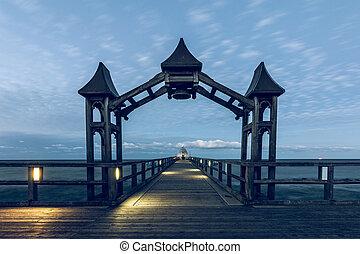 桟橋, 夕方, 照明