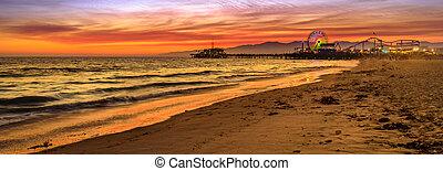 桟橋, 日没, サンタモニカ
