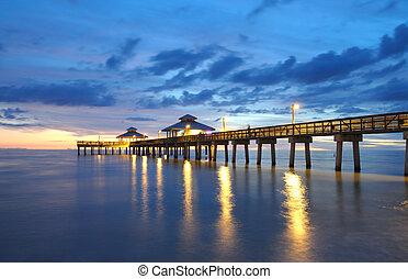 桟橋, 日没, ナポリ, フロリダ