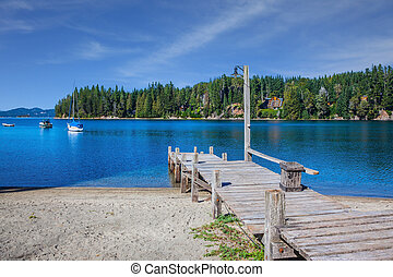 桟橋, 湖, ボート