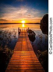 桟橋, 湖, 上に, 日没, フィンランド, 釣り