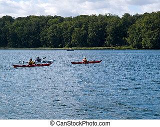 桨叶, kayaks, 喜欢, kayaking, 人