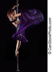 桿, 跳舞, 婦女, 由于, 紫色, 織品