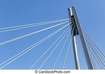 梁, クローズアップ, 縦, 鋼鉄, 橋, ケーブル