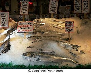 梭子魚, 三文魚, 地方, 新鮮, seattle, 市場