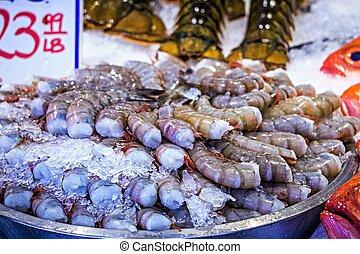 梭子魚, 巨人, 蝦, 龐然大物, 顯示, 市場