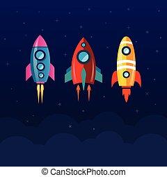 梭, 火箭, 空間