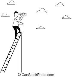 梯子, 人, spygla, 卡通