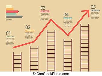 梯子, 增长图表, infographic