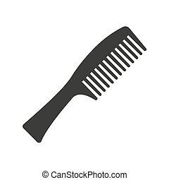 梳子, 白色, 背景。, 图标