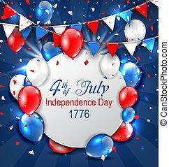 棉經毛緯平紋呢, 鮮艷, 問候, 第4, 美國人, 七月, 獨立日, 卡片