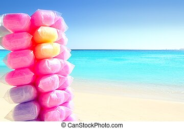 棉花糖果, 鮮艷, 在, 加勒比海海灘