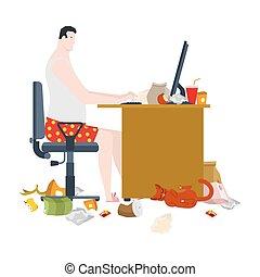棍。, 桌子。, 遙遠, 垃圾, home., 工作, 插圖, workplace., 自由職業者, 矢量, cat...
