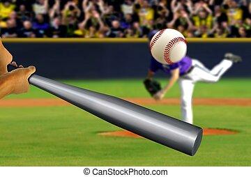 棒球投手, 觀眾, 背景, 搖擺