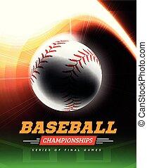 棒球, 在, the, backlight, 上, a, 黑色的背景, 由于, a, 飛行路徑, 在, the, 形式, ......的, a, 光, beam.