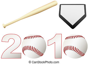 棒球, 2010, 季節, 集合, 球, 蝙蝠, 基礎