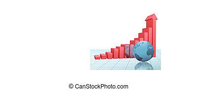 棒 グラフ, チャート, の上, ペーパー, 矢, 地球, 進歩