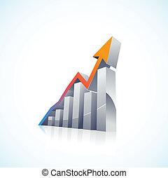棒 グラフ, ベクトル, 3d, 市場, 株