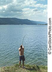 棒, 釣り, 人