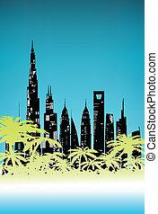 棕櫚, 夏天, 城市