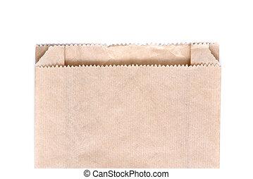 棕色的紙袋子, 被隔离, 在懷特上