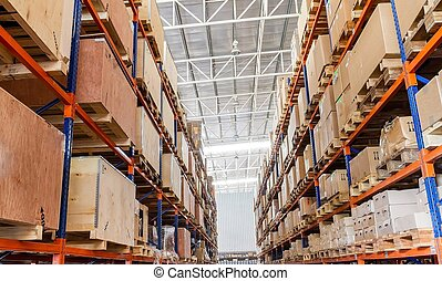 棚, ∥で∥, 箱, 中に, 工場, 倉庫