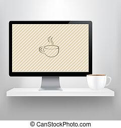 棚, コーヒー, コンピュータ, カップ