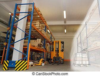 棚, ラック, 倉庫, 結合された, パレット, 内部, 分配, 図画