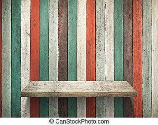 棚, 上に, 古い, 木, 壁, そして, 床