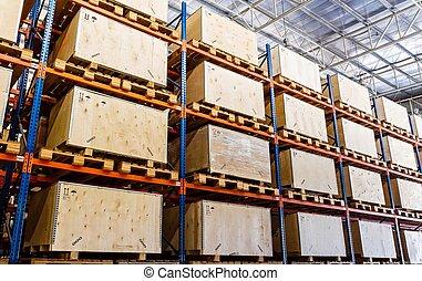 棚, 製造, 貯蔵, 中に, a, 倉庫