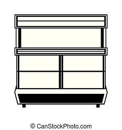 棚, 隔離された, スーパーマーケット, 黒, 白, 漫画, 空