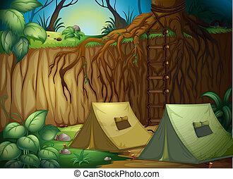 森林, キャンプ, テント