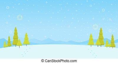 森林, クリスマス, 森, 雪, 松, ベクトル, 冬, イラスト, 背景, 風景, 木