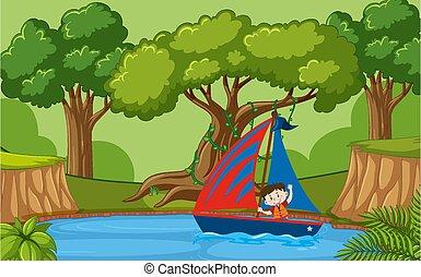 森林, ボート, 現場, 背景, 小さい 男の子, 航海