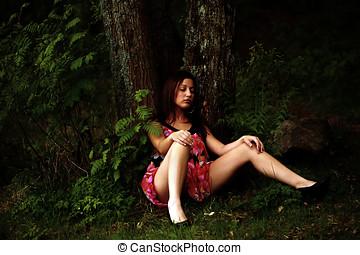 森林, 女性, 眠ったままで