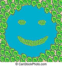 森林, 微笑, 島, 湖, 顔