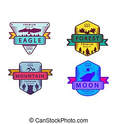 森林, 徽章, 集合, 月亮, 鷹, 山
