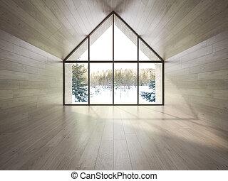 森林, 空, 家, 3d, 部屋, レンダリング
