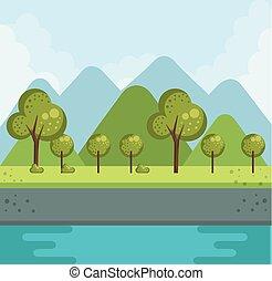 森林, 風景, 湖