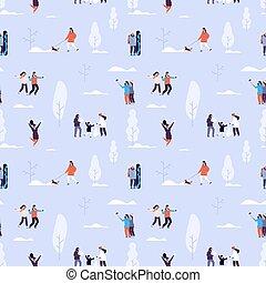 森林, pattern., 活動, seamless, カップル, 冬, ベクトル, 子供, 屋外, 人々, 手ざわり,...