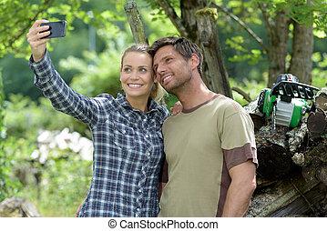森林, selfie, 恋人, 取得