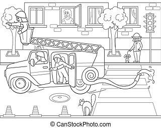 森, 着色, 漫画, ライン, 雪, animals., 託児所, 黒, 物語, 背景, ブランク, 白, 本
