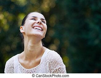森, 肖像画, 微笑の 女性, 若い