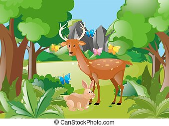 森, 鹿, うさぎ