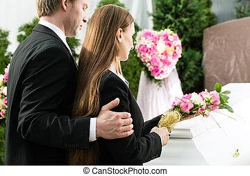 棺, 嘆くこと, 葬式, 人々