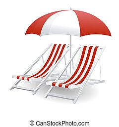 椅子, そして, ビーチパラソル, 隔離された