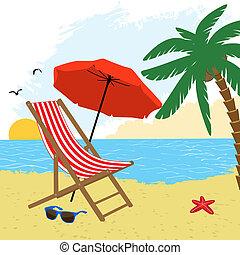 椅子, そして, 傘, 浜