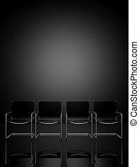 椅子, オフィス, 横列